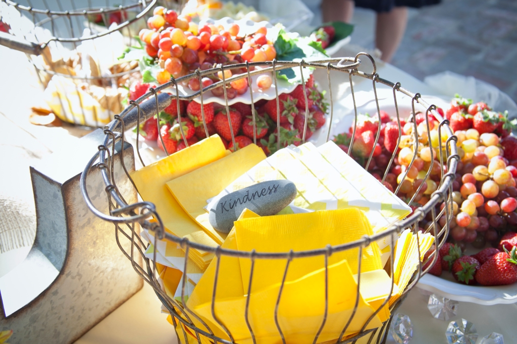 Cheese and crackers were served while pictures were being taken of the wedding party. The fruit was in abundance and so good.