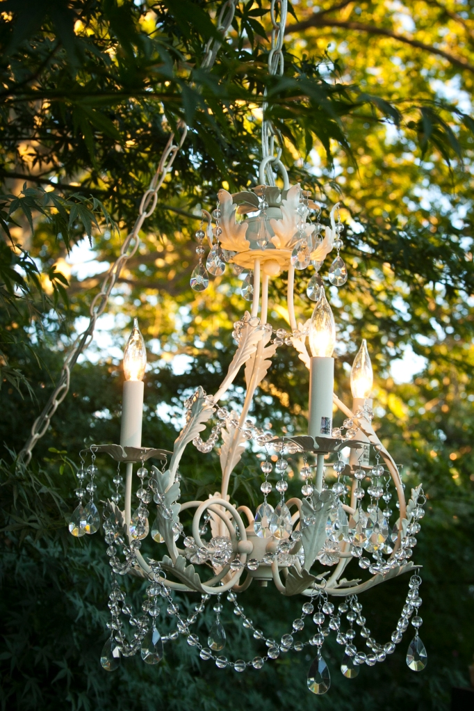 I really want a chandelier to hang from a tree in my backyard. Gorgeous!