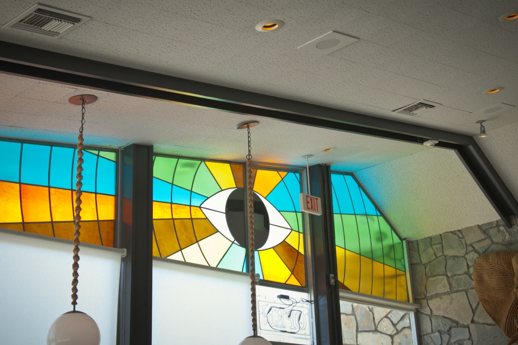 Awesome stained glass window on one side of the diner. I thought Amanda would love the eye design.