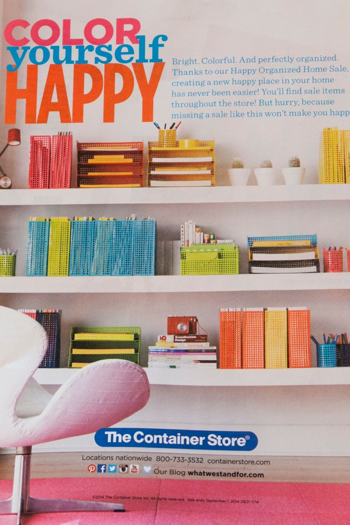 Do I even have to say? Color? Happy? Organization? Hello, The Container Store!!?? Right?