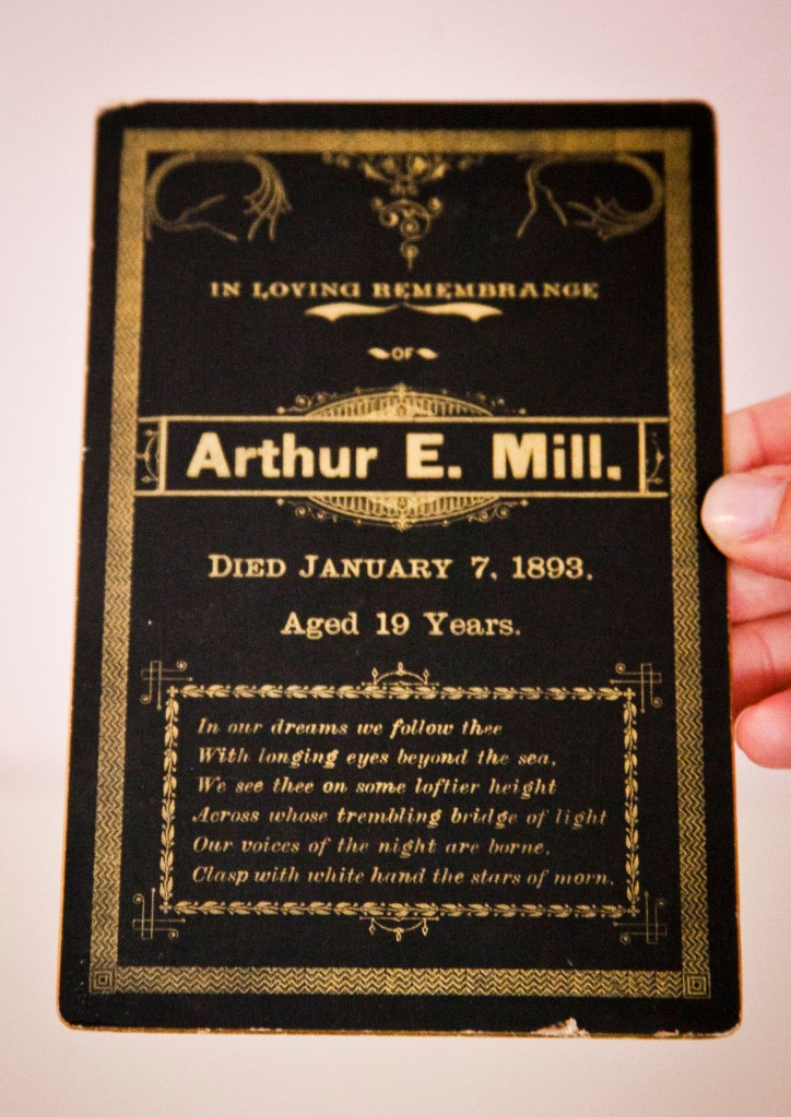 She found this tid bit of history. She later found this man's funeral card was so nice because prior to his death he worked for a printing company. This was like a mini history find too!