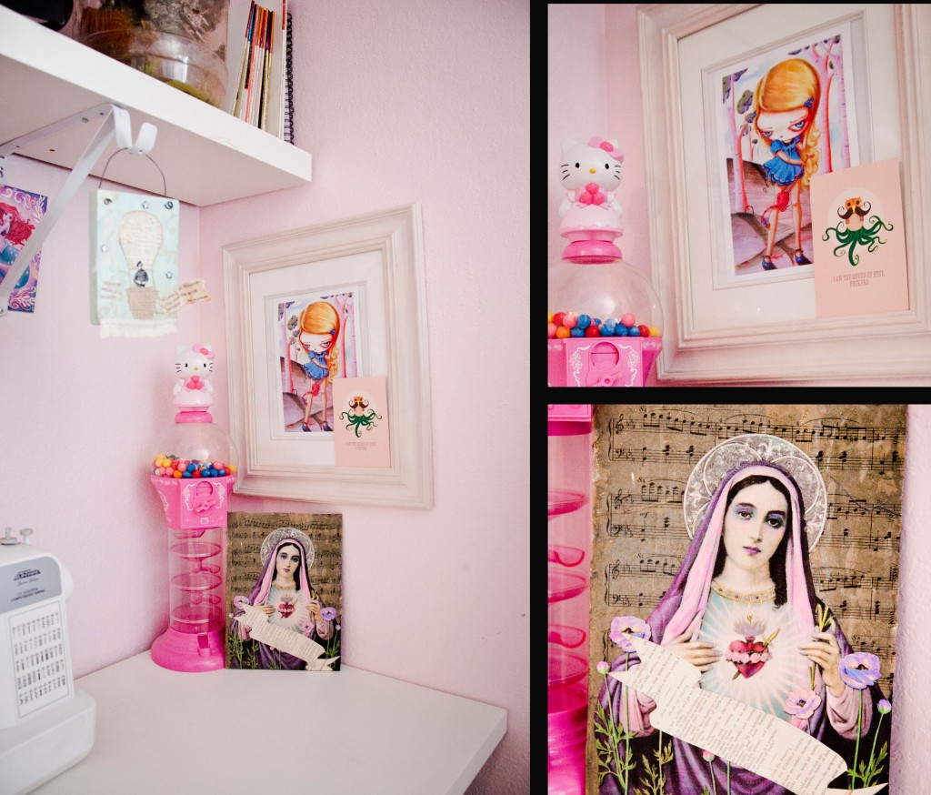 As you start to get closer you can see all the cool bits and pieces of originality. I love the painting of the little girl by Pinky Toast. So much of these items were created my Mallory herself.