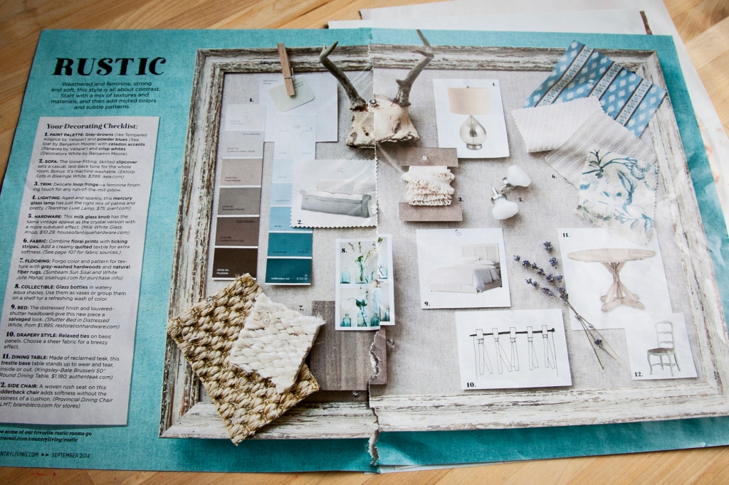 I love this inspiration board! The paint colors are close to what I'm looking at for my house and they go lovely with the colors I already have like these blues. This is really getting me in the mood for my re-do! I can't wait.   -Country Living