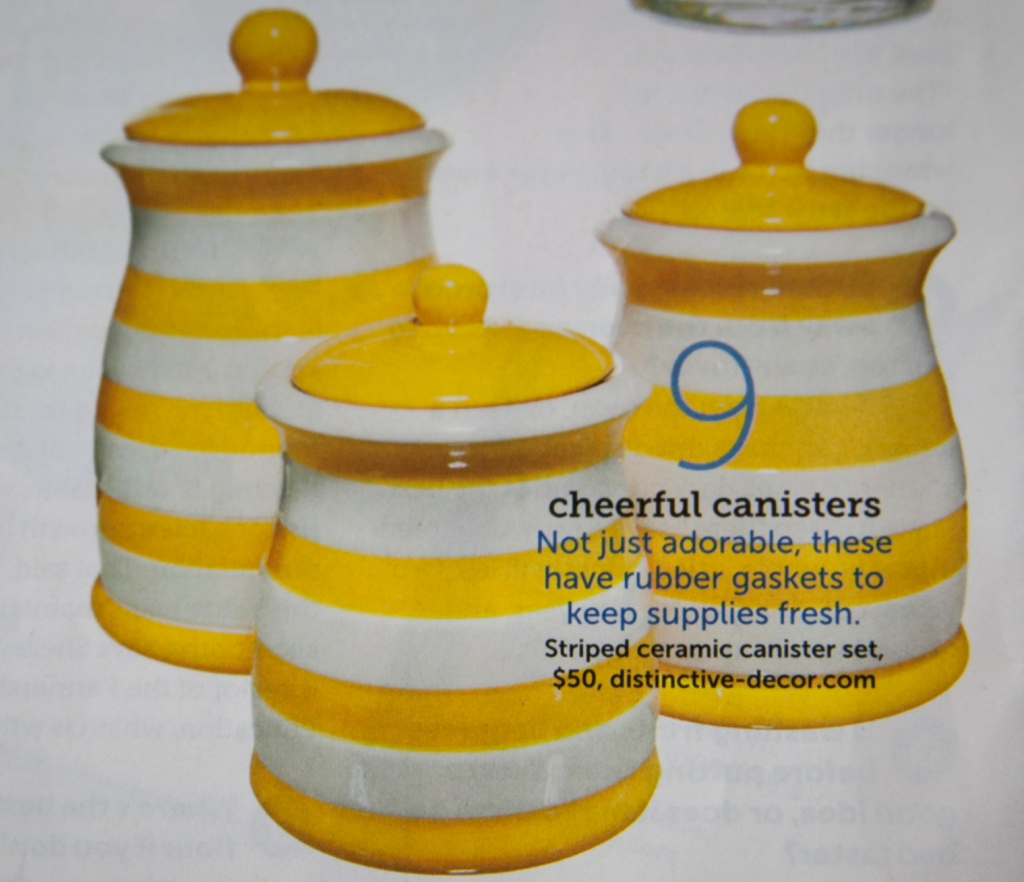 Speaking of happy! Aren't these darling?! I need them in blue and bright green too so I can interchange them! They would be so great in an all white kitchen. LOVE!   -HGTV Magazine