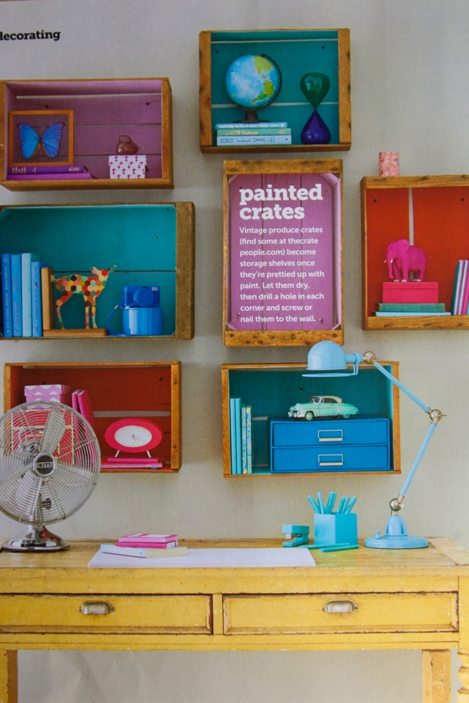 I kind of really like this HGTV idea of making shelves out of old crates. I LOVE the idea of painting the inside with fabulous color! I'm totally down to try this one out.
