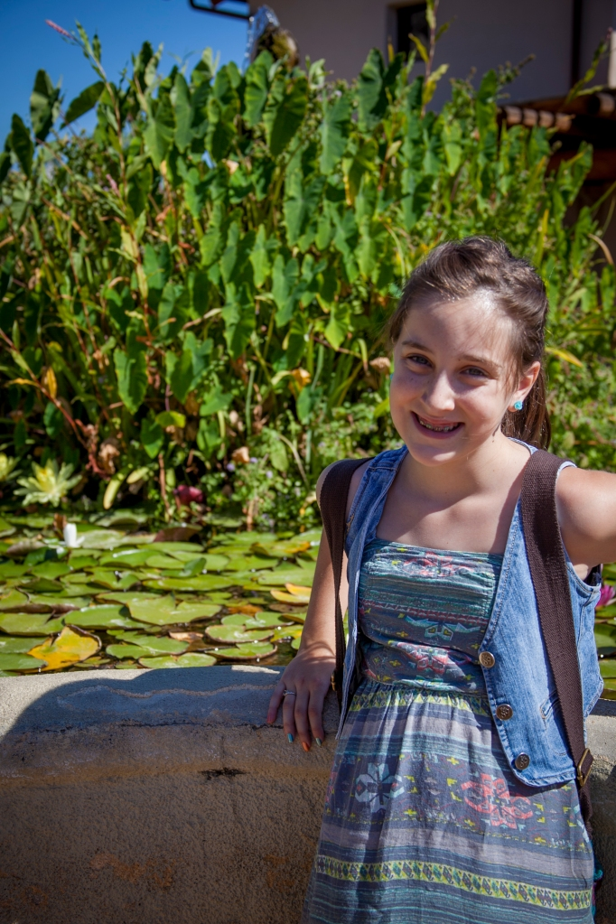 Both Emma and I are obsessed with the beautiful lily ponds that are at this mission. They are full of koi fish and lilies. There were a ton of baby fish in the fountains that, of course, Emma was in love with.