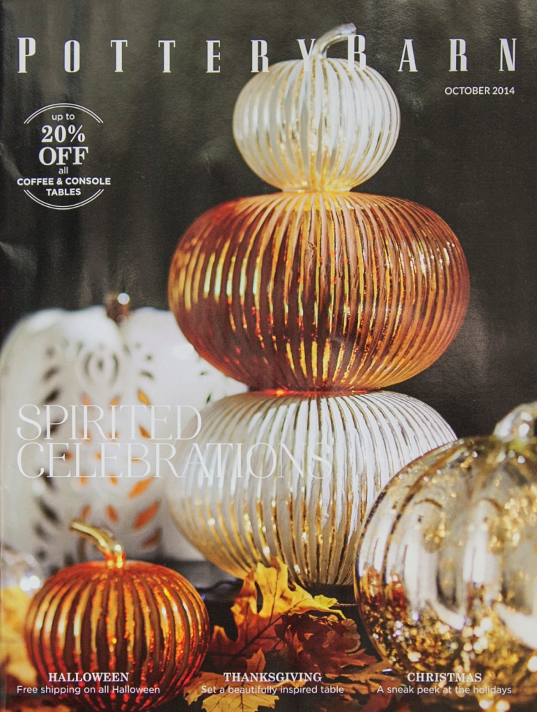"I keep peeking into this catalog hoping the inside is as great as the outside. Pottery Barn is one of my tops for home  design inspiration. Look at those PUMPKINS! I loves me some ""punkins."""