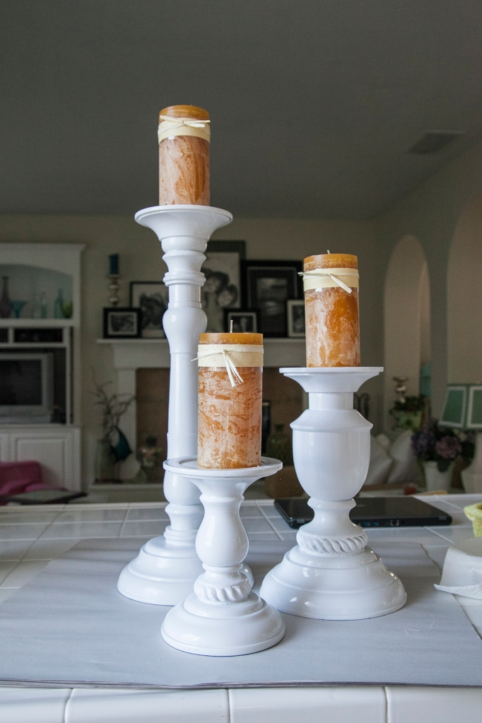 The finished candlesticks!