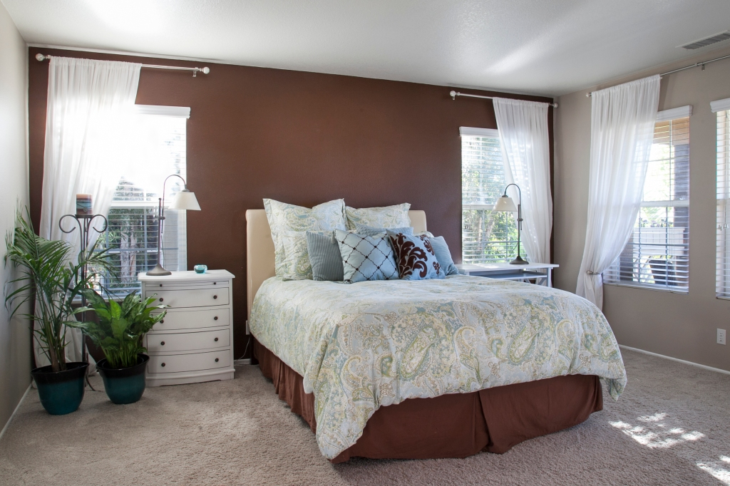 Here is the brown wall, it was left over from a prior bedspread and shams. I also had different curtains when I painted the wall. It just sort of got stuck in between the two rooms designs. I've tried to pull the details into the brown just to make it work. These curtains are just white cotton and pretty cheap fabric. I really wanted to complete the change.