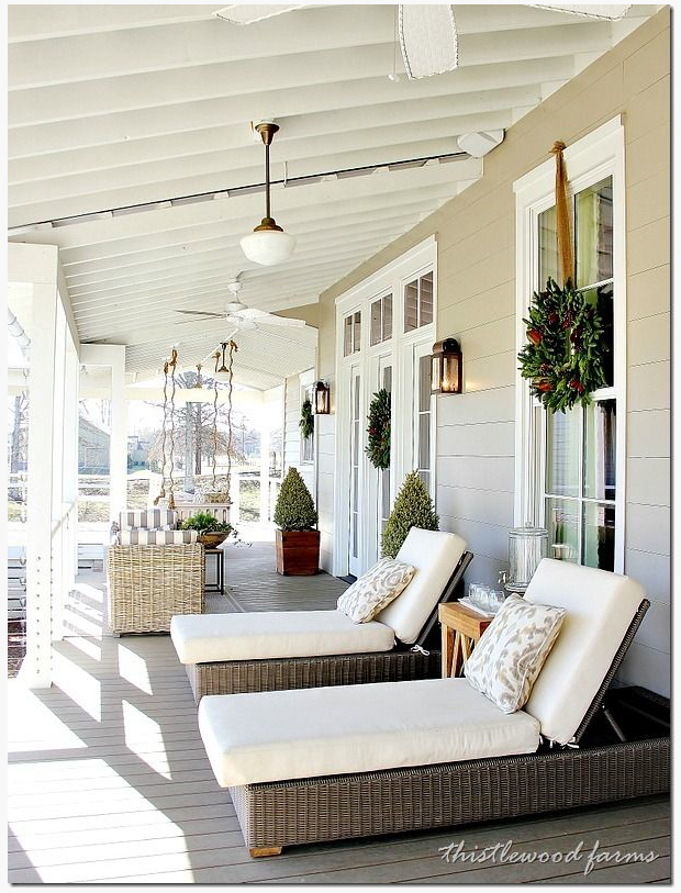 The ranch house has a wrap-around porch, it is going to be a lot of work to get it this pretty. How pretty is this? http://www.thistlewoodfarms.com/20-decorating-ideas-from-the-southern-living-idea-house