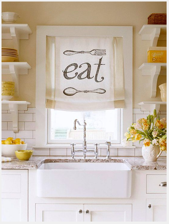 I love a farm sink! Throw in a few subway tiles and a punch of yellow? I say Yes, Please. http://www.bhg.com/decorating/budget-decorating/cheap/free-decorating-for-every-room/#page=22