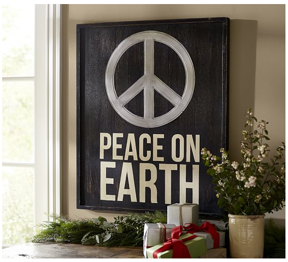 We like Peace on Earth but plan on losing the peace sign.