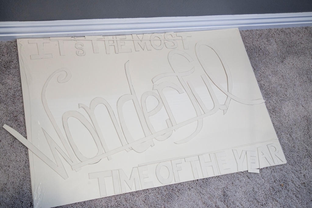 All the lettering cut out. I cut three long pieces of board to attach the lettering to.