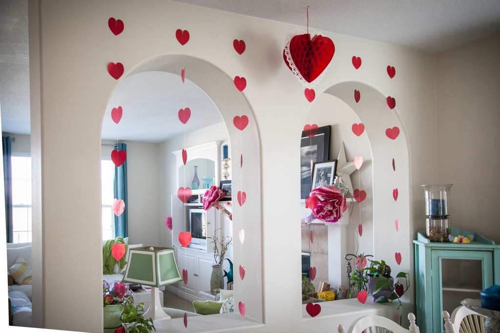 Hanging hearts! Super cheap at our party store! So cute.