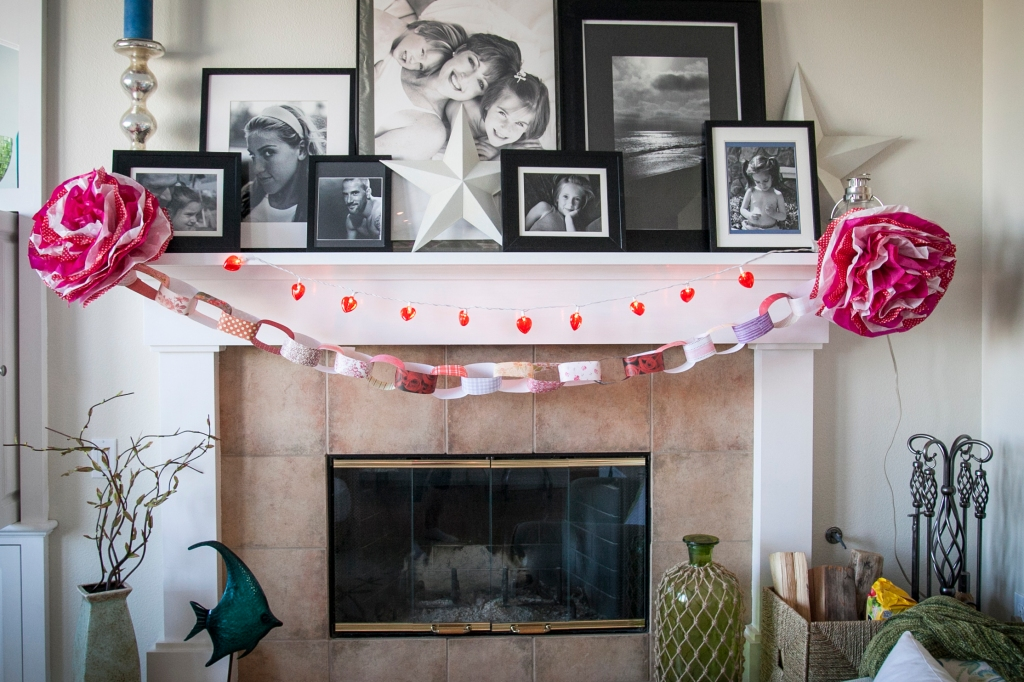 Heart lights, paper chains, and tissue flowers!