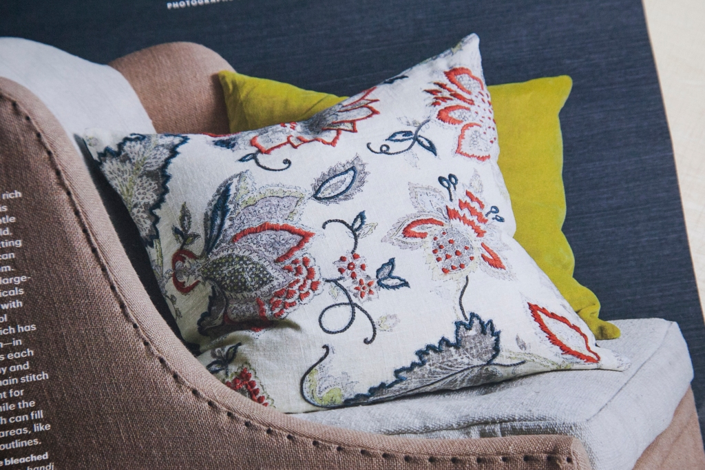 "This pillow is from the new Martha Stewart, Living March 2015, issue. It's from an article about embroidering over pretty fabrics to enhance their design. In fact it's about cutting out the, ""I don't know what to embroider"" stage of the craft. there are several beautiful examples and ideas that really made me want to give this a try. We can all embroider, right?"
