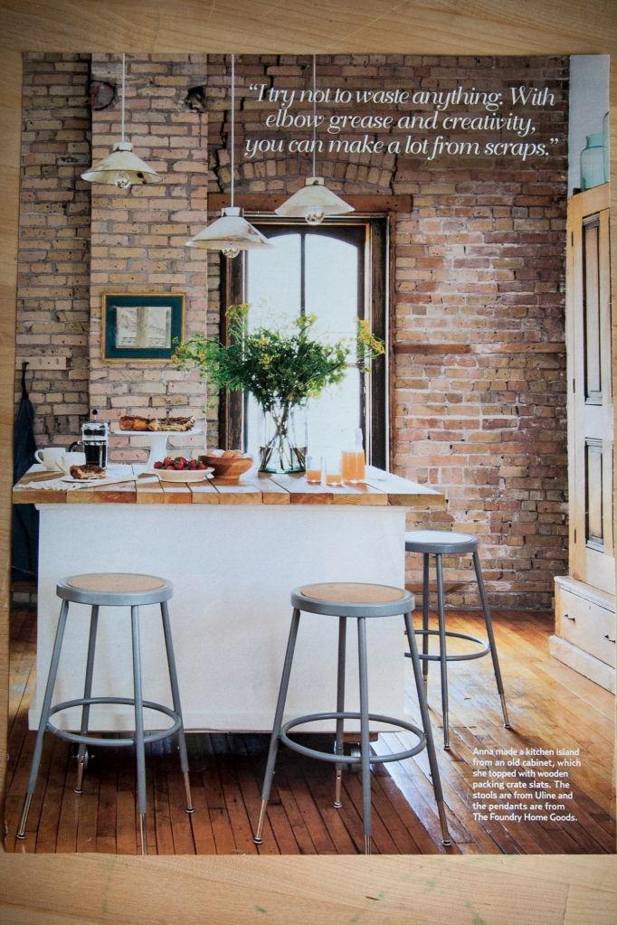 I'm in love with brick. I love it painted white and left raw like this photo. I love the combination of whit, wood flooring, and brick. It's perfect! This image is from Country Living Magazine. Personally, I love the quote because, I save everything, thinking I can do something with it.