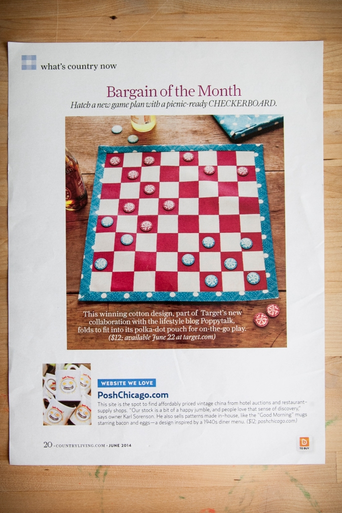 Another little post by Country Living Magazine! How cute is this checker board made of fabric for a picnic? It made me start thinking. What about making a wooden board or a giant board? When you really think of it the ideas for a handmade checker board are huge!