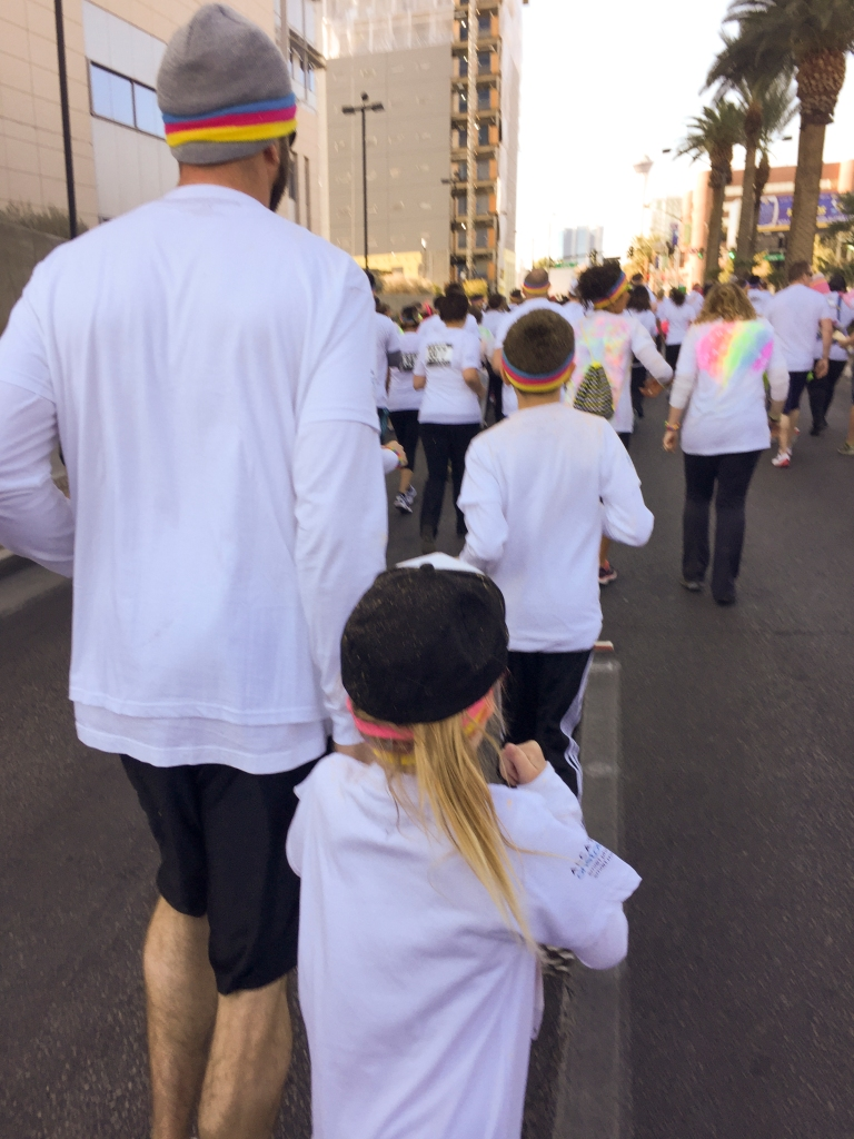 Then we saw a lot of this: The back of Mike and Nora! That tiny girl ran like crazy! She ran more than the other two and after a while I could see them up ahead, Mike with Nora on his shoulders, still running!