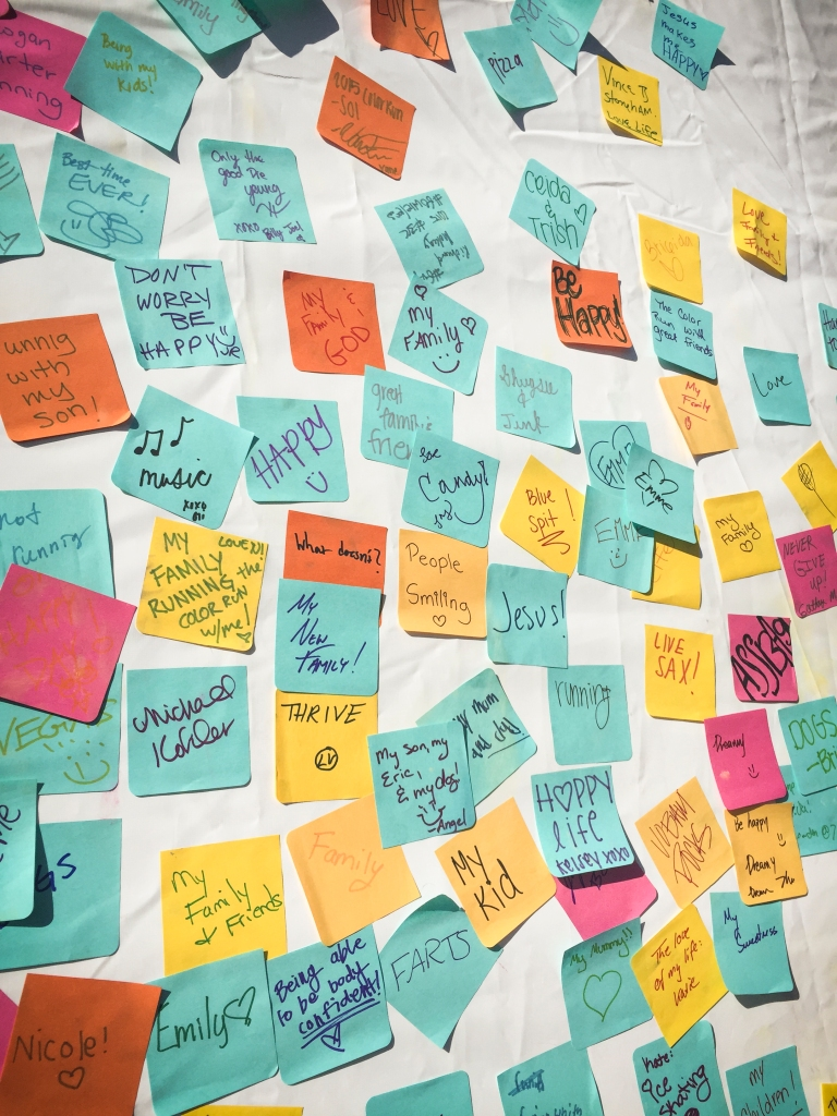 There was a post-it station to write what makes you happy! I wrote one and you'll have to guess what I said...