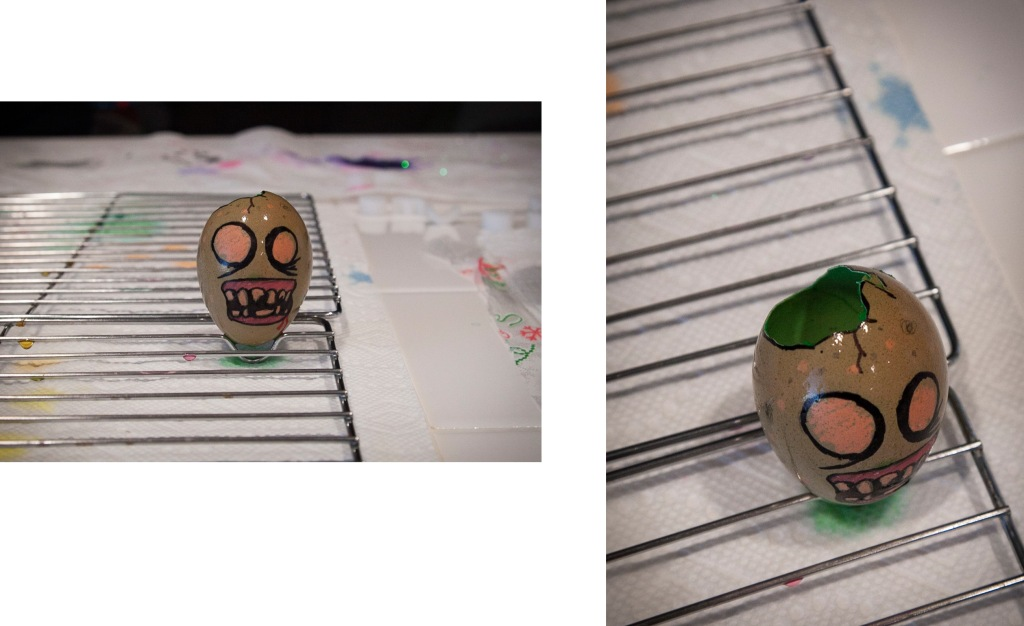 And here is my favorite egg of the night! I know moms are not supposed to have favorites but I can't help myself. I was so happy to see this one. Steven made it! It was our poor broken egg and in honor of The Walking Dead half-season finally, it's a ZOMBIE EGG! I love the teeth and details of this egg. It's not traditional, but then again nothing at our house ever is. It's perfect.