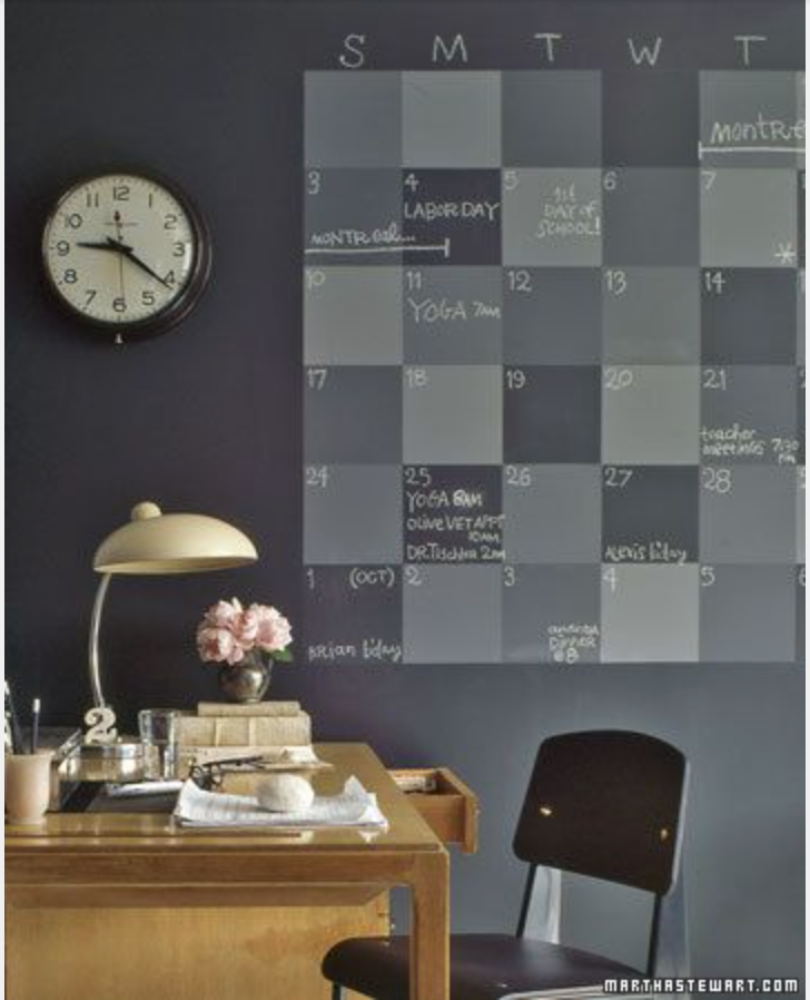 I just found this pin. It was my inspiration for my chalk board wall and calendar. I know that no matter where I go, I'll have another chalk board wall. This is Martha Stewart's design. http://www.marthastewart.com/274903/25-closet-storage-and-office-organizers/@center/276989/organizing#/268187