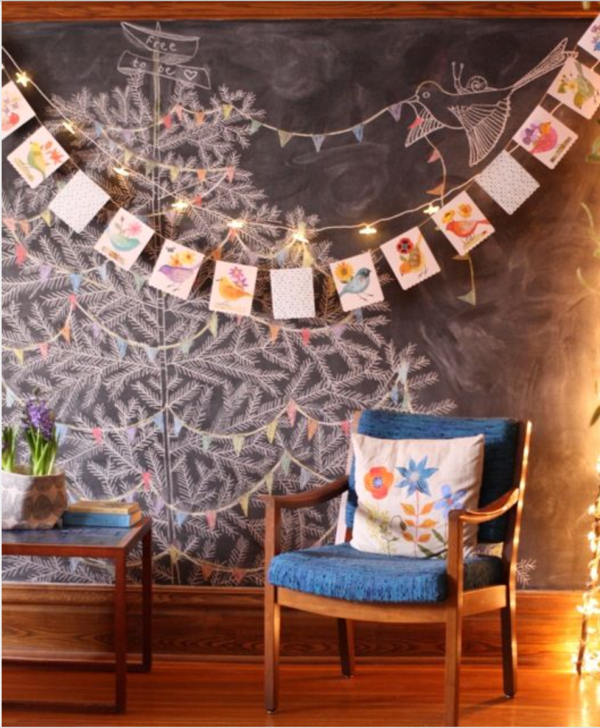I'm thinking about a chalk wall that's a little more like this. And, no, there will not always be a Christmas tree on it.. http://www.flickr.com/photos/12967142@N05/8444623420/