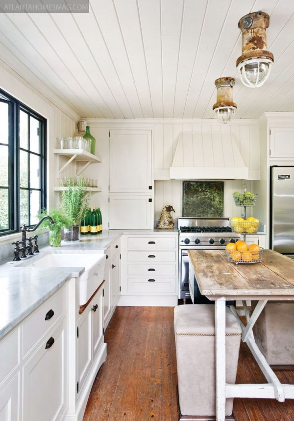 "I do really love the ""shiplap"" paneled ceiling. The ceilings in the living room are done this way and we were planning on bringing it through to the living room. We are also planning on removing a drop ceiling in the kitchen which would give us the perfect opportunity to continue these ceilings into the kitchen. http://theinspiredroom.net/2014/10/21/architectural-details-shiplap-wood-paneling/"