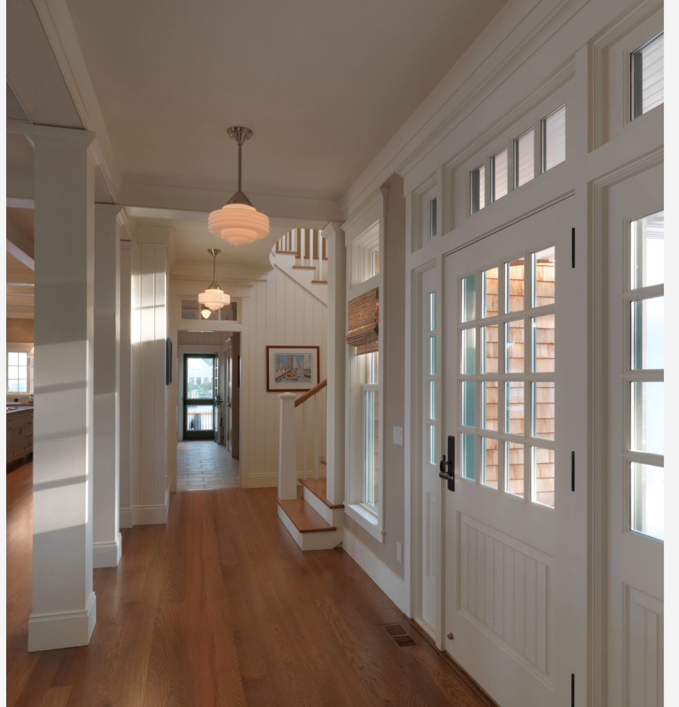 "This is one of my favorite images and you'll be seeing it in the future on my inspiration Saturdays. This is what I expect our door to look like from the inside. The center of our door will be gridded as well as the sides.<div class=""embed-houzz""><div><a href='https://www.houzz.com/photos/jersey-sound-house-traditional-entry-newark-phvw-vp~2537918'><img src=""https://st.hzcdn.com/simgs/1f315d8400fd9e68_4-6013/traditional-entry.jpg"" alt=""Jersey Sound House traditional-entry""  border=0 width='552' height='640' nopin='nopin'></img></a></div><div style='color:#444;'><small><a style='text-decoration:none;color:#444;' href='https://www.houzz.com/professionals/architects-and-building-designers/cushman-design-group-pfvwus-pf~2080404437'>Photo by Cushman Design Group.</a> <a style='text-decoration:none;color:#444;' href='https://www.houzz.com/photos/traditional/entry'>See more traditional entry designs</a></small></div></div>"