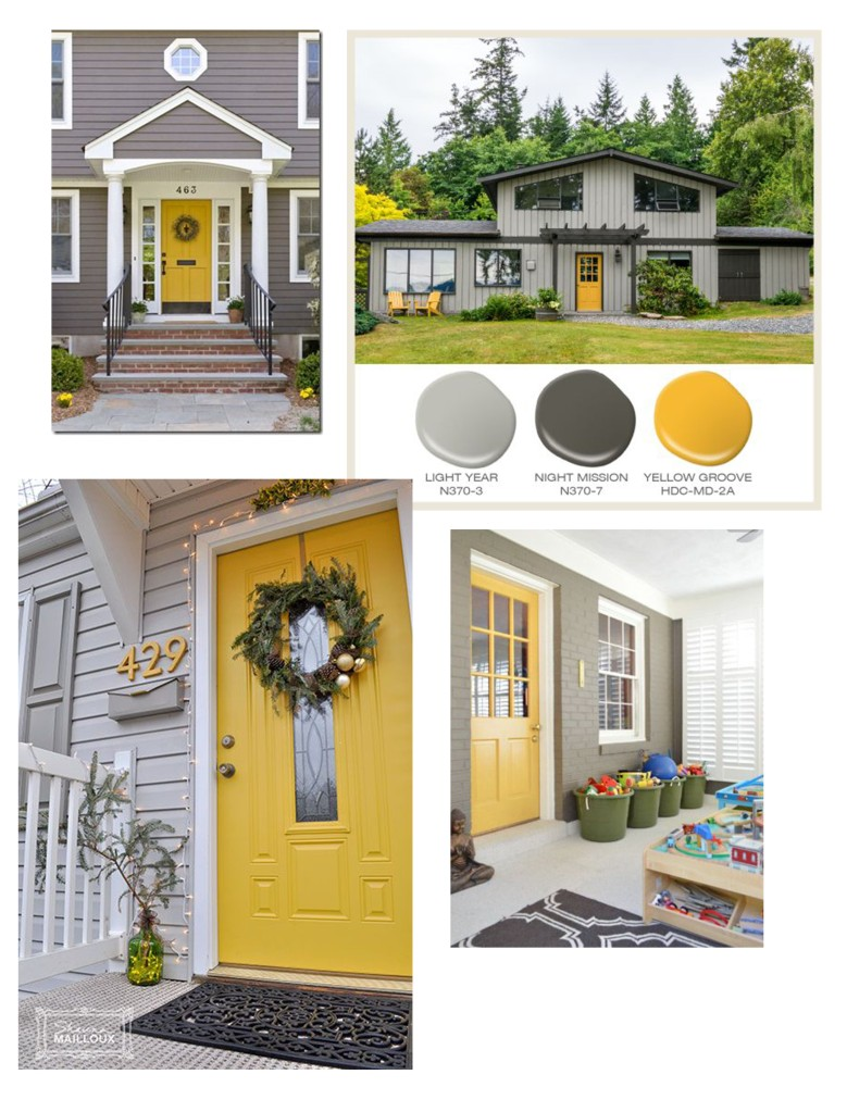 I really love these colors and the yellow doors, I'm totally sold. All of these images are from pinterest: https://www.pinterest.com/pin/418975571563030188/ https://www.pinterest.com/pin/418975571563030173/ https://www.pinterest.com/pin/418975571563030200/ https://www.pinterest.com/pin/418975571563030269/