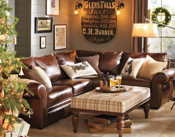 I saved this image because I really like the feel of the room, warm browns and leather are always nice in a man's space. http://www.potterybarn.com/shop/furniture-upholstery/living-room-ideas/living-room-seven/?cm_src=room_ideas