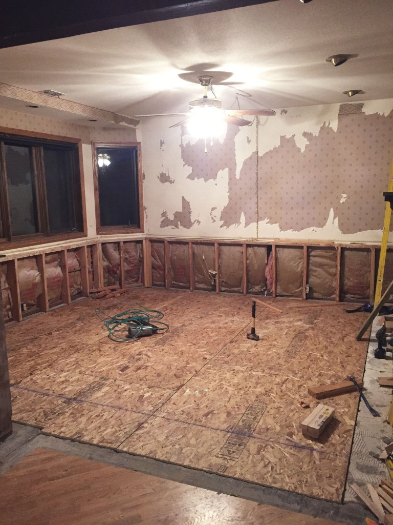 This is what the room looks like right now. Floors are finally level with the rest of the house. It's basically ready to be put back together, just as soon as we remove the rock, that'll be done this month.